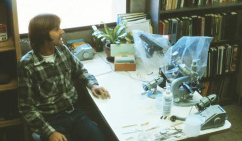 Don Mykles at Bodega Marine Laboratory in the 1970s.