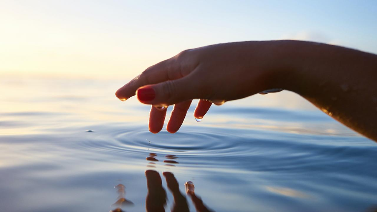 Image of a hand touching the surface of water